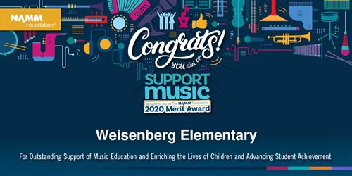 Weisenberg Elementary receives the Support Music Merit Award (SMMA) from The NAMM Foundation!